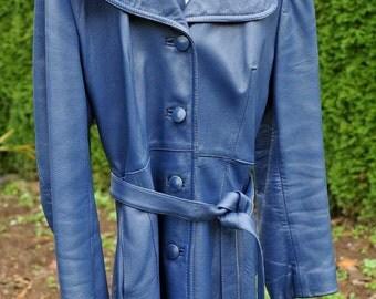 Ladies Preowned Vintage Cabretta Leather 3/4 Length Belted Coat  / Blue Cabretta Leather Coat / Blue Leather Coat / Kid-like Leather