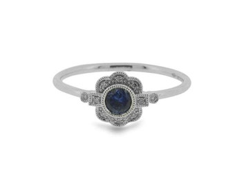 Deco Style Floral Blue Sapphire Gemstone And Diamond Millegrained Ring in 18ct White Gold   Art Deco Inspired Engagement Ring (3618012)