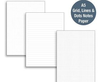 A5 Grid, Dots & Lines PrintableNotes