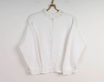 White Cardigan Preppy Cardigan Embroidered Cardigan Summer Jacket Hipster Cardigan Romantic Sweater White Knitted Jacket Size Medium