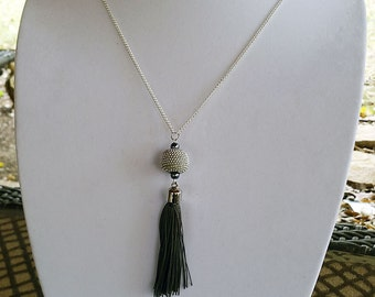 Neutral Beaded Necklace and Tassel