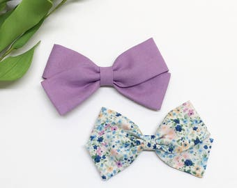Fabric Bow Clips - Lupine, Spring Floral - Fabric Bow - Clips or headbands