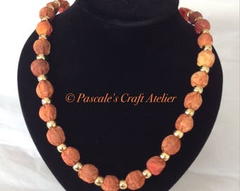 Beautiful hand painted orange/red/brown Silk Necklace
