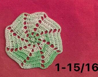 "Miniature DOILY - GREEN & WHITE 1-15/16""  (by Sandy Slifka)"