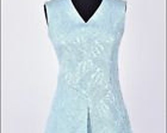 Vintage 60s blue glitzy textured cocktail mini mod shift dress