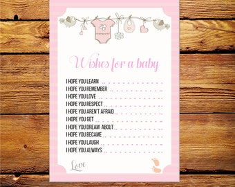 Baby Shower Wishes for baby,Wishes for Baby Printable,Dear Baby,Wishes for Baby,Printable Wishes for the baby,Baby Shower Printable