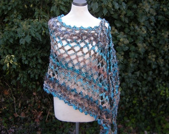 "Poncho scarf crochet scarf, vest, poncho, loop, Teal-colored ""LooPo"""