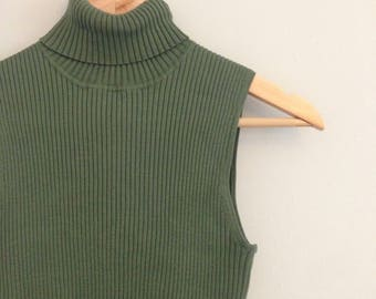 FREE US SHIPPING | Vintage 90s Olive Green Ribbed Stretchy Turtle Neck Tank Top | See Measurements