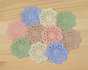 Crochet applique, set of 10, Pastel Colors, Crochet Flowers, Mini Doilies, flower applique, embellishment, scrapbooking, cotton  applique.