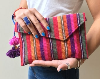 Colorful Woven Clutch Bag