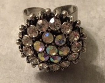 A Must Have!  Silver tone 18mm Interchangeable Snap Ring with a Beautiful Rhinestone Snap - Adjustable