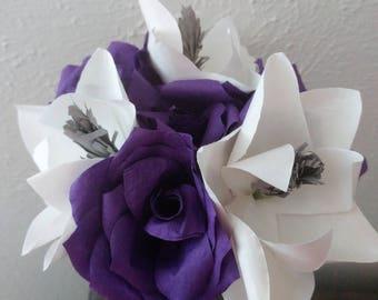Magnolia and Rose Arrangement, Paper Flower Arrangement, Paper Magnolias Paper Roses, Purple white and gray floral arrangement, Flower decor