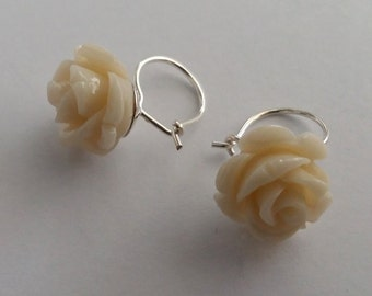 Earrings White Roses, Sterling Silver Earrings with Resin, Rose Earrings, Flower Earrings, White Earrings, White Rose, Gift Idea