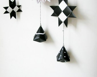 Black white paper ornaments mobile. Wall mobile. Home decoration.