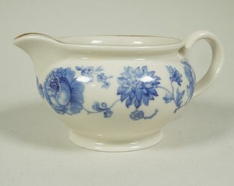 RESERVED - Milk jug, Suisse Langenthal, blue and white, porcelain, flowers