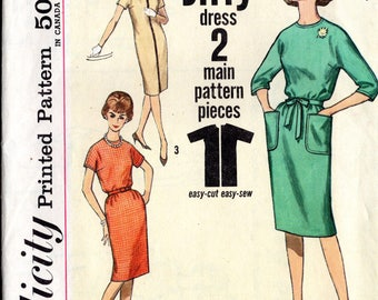 Vintage Early 60's Dress Pattern: Simplicity 4520; size 18, bust 38