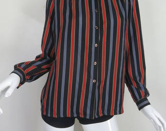 80s Button Up Shirt Stripe Button Up Long Sleeve Blue Red Shirt