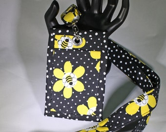 Lanyard & Matching ID Badge Holder. Bees and yellow daisies on black with white polka dots. Optional break away buckle.