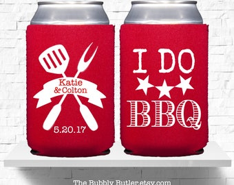 I Do BBQ Favors, Wedding Can Cooler, Couples Shower Favors, I DO BBQ Can Coolers, Beer Covers,I Do BBq Shower, BBq Couples Shower Favors