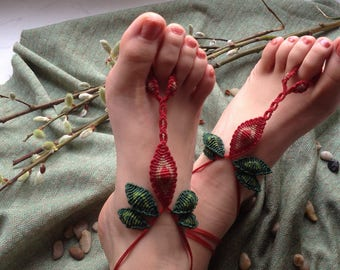 Merida I - Sweet Leaf Macramé Barefoot Sandals