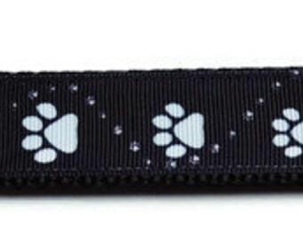 Large Black/White Paw Print Dog Collar