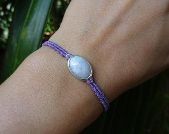 macrame sterling silver bracelet with jade gem, macrame bracelet, white jade bracelet, silver bracelet, micro macrame bracelet