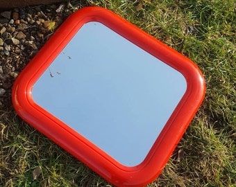 Retro Wall Mirror Vintage From The 70s Space Age Red Plastic Finnish Design