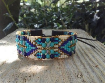 Hand Loomed bracelet, Southwest bracelet , boho chic Native American inspired , statement jewelry wearable art