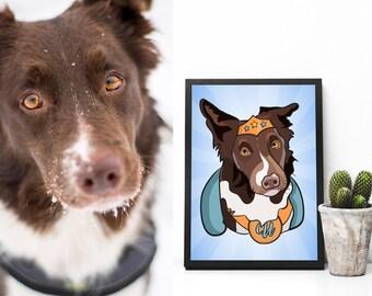 Custom Superhero Pet Portrait - Funny Personalized Dog Portrait - Cat Portrait - Pet Portraits - Pet Memorial- Animal Portrait- Pet Drawings