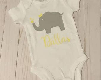 Personalized Baby Elephant Bodysuit