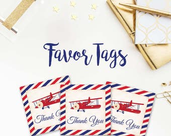 Airplane Baby Shower Favor Tags, Plane, Tags, Red and Blue, Red, Navy Blue, Vintage, thank you tags, digital, printable, 034