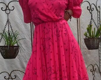 Frank Usher 80s Pink Dress