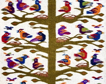 Tree of Life Rug, A Stunning Hand Woven Carpet with Birds on a Tree