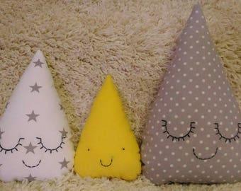 Set of Raindrop Pillow, Raindrop Cushion, Kids Pillows, Decorative Pillow, Raindrop shaped, Babyshower gift, Nursery Decor, Baby Bedding