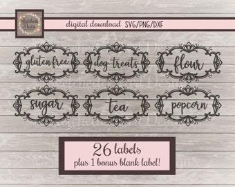 Kitchen label SVG PNG DXF, Canister labels, Digital cut file, Instant download, Clipart, organization, jar, Flour sugar coffee pantry