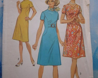 Simplicity 9383 1971 Vintage Dress Sewing Pattern 16.5 (39)