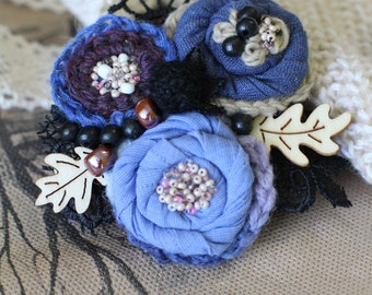 Brooch, brooch flower, Gift for her, wonderful brooch, original brooch, a boho-brooch textile, textile brooch,  fabric flower, Fabric Brooch