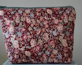 Berry Red Spring Rose Make Up Bag, Cosmetic Bag, Floral, Ladies Gift Idea - Purple Rose Floral Design