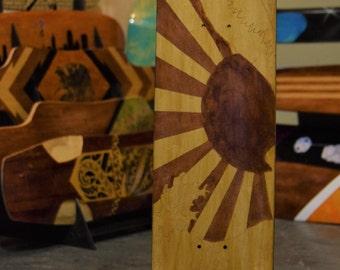 Custom Maple Rising Sun Cruiser Skateboard/Longboard Deck