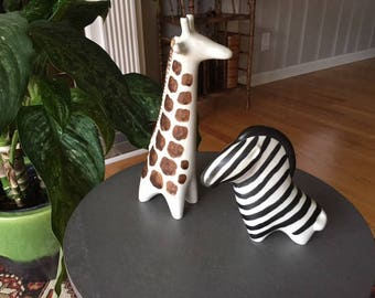 Pr. Arabia Finland Taisto Kaasinen Abstract mid century modern zebra and giraffe/Rare and lovely/Scandinavian pottery/signed