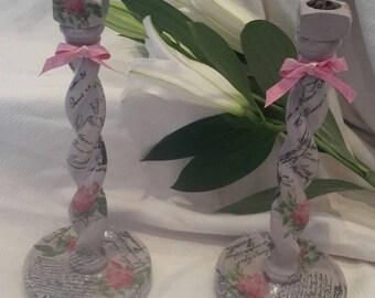 Candleholder,candlesticks, Vintage Barley twist,hand decorated,decoupage,Pink,candlestick,shabby chic,two,wedding present,wedding,present