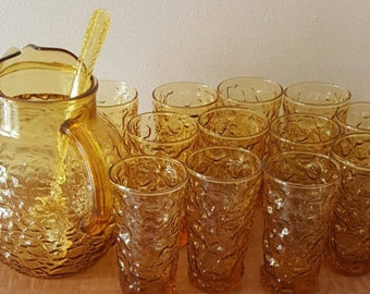 Amber Glass Pitcher & Amber Glass Tumblers~14 Pc Anchor Hocking Milano Lido Crinkle 12 Amber Honey Gold Tumblers + Pitcher + Stir Spoon