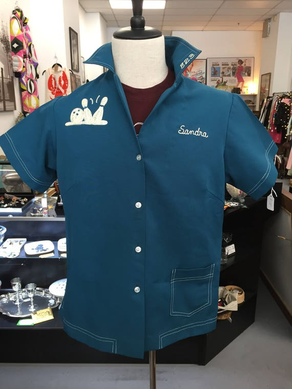 Vintage 1960s Embroidered Women's Aqua Colored Bowling Shirt
