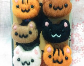 Fridge magnets cats ~  MEOWGNETS! ~ Exclusive Kitten Decorations, Needle felted, Ideal Gift for Catlovers, Unique Design, Kawaii Cats
