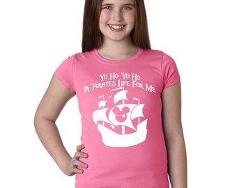 Disney Shirt Yo Ho Yo Ho A Pirate's Life for Me Pirates of the Caribbean Shirt for Girls in Pink or Gray  wear to Disneyland or Disney World
