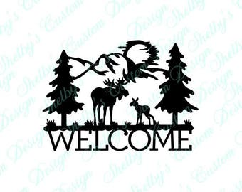 Moose Decal, Welcome Wall Decal, Vinyl Wall Art, Wall Art Decals, Welcome Decal, Decorative Wall Decals, Cool Wall Decals, Welcome Stickers
