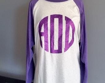 Monogram shirt, monogrammed raglan sleeve shirt, womens monogram shirt, monogrammed gift