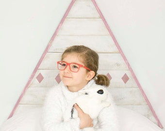 Tipi headboard pink with valance-wooden pine-headboard for babies-wild tipi-teepee-babies-for babies-play baby wood