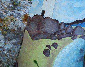 Hand painted Antique Sardinian shingle, Harbor Lighthouse-Palau