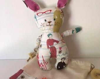 Vintage bunny - small handmade fabric bunny